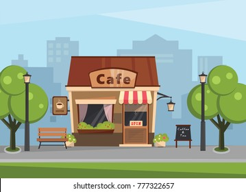 Building a cafe in the background of a large city. Vector illustration.
