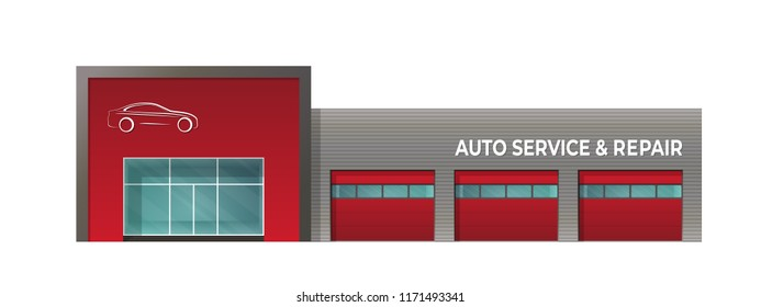 The building of  car service repair. Isolated image on white background