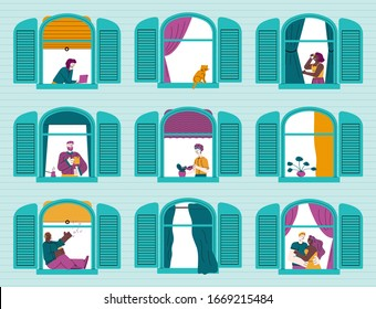 Building with cartoon people in windows sketch vector illustration isolated.