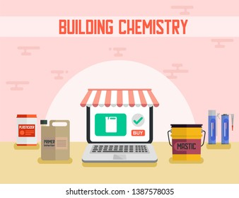 Building Chemistry Online Shop Flat Promotion Banner Vector Illustration Construction Materials Plasticizer Primer Mastic Liquid Nails in Plastic Canisters Laptop with Call Buy Landing Page
