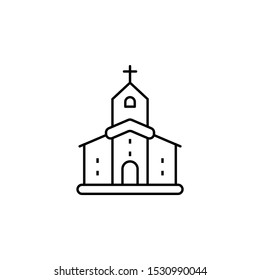 building, church line icon on white background