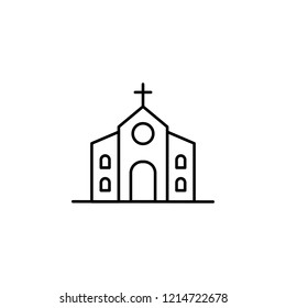 Building, church outline icon. Element of architecture illustration. Premium quality graphic design outline icon. Signs and symbols outline icon for websites, web design, mobile ap on white background