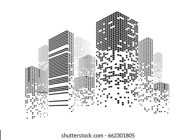 Building and city illustration. Illustration isolated on white background. Graphic concept for your design