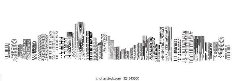 Building and City Illustration at night, City scene on night time