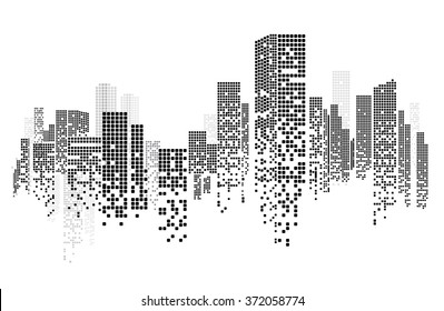 Building and City Illustration, City scene on night time