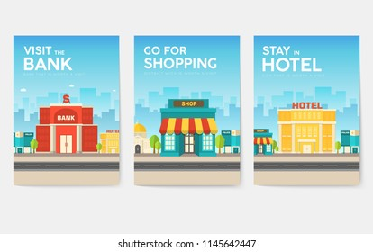 Building city information cards set. Architecture template of flyear, magazines, poster, book cover, banners. Construction infographic background. Layout illustrations modern pages