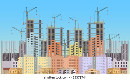 Building city under construction website with tower cranes. Constructions infographics template design