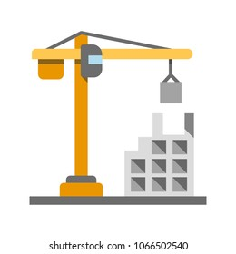 Building, constructing flat design long shadow color icon. Property business. Tower crane. Vector silhouette illustration