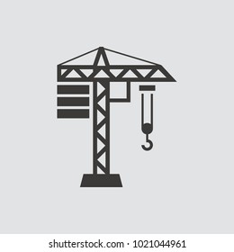 Building Construction Crane. Icon isolated of flat style. Vector illustration.