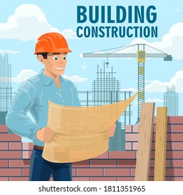 Building construction engineer, architect or contractor. Engineer in safety helmet looking on blueprint, architect studying building drawings and construction company contractor reading plan vector