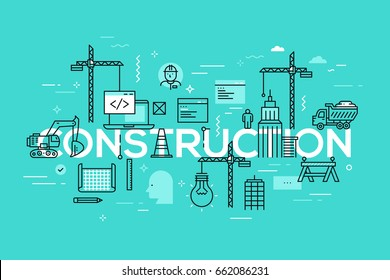 Building construction, engineering, architecture, modern urban design, city and public space development concept. Creative infographic banner with elements in thin line style. Vector illustration.