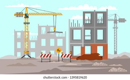 Building construction flat vector illustration