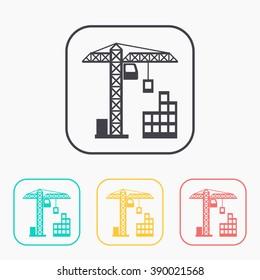 building construction icon color set