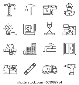 building construction icons set. constructing a house or infrastructure, thin line design. Lines with editable stroke. isolated symbols collection