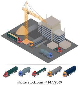 Building Construction Industry. Industrial Transportation. Vector flat 3d illustration