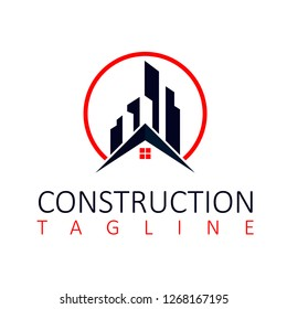 Building Construction Logo Design Template with house Vector.