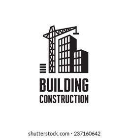Building construction logo template vector illustration. Crane concept in black & white colors. Real estate sign. Reconstruction web page. Design element.