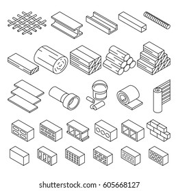 Building construction materials for repair isometric vector icons. Set of bricks and wooden blocks illustration
