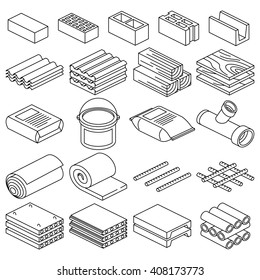Building and construction materials vector linear icons. Construction building material, cement material and brick material illustration