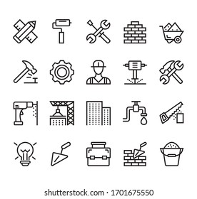 Building and construction simple line isolated icon set collection. Vector flat graphic design illustration