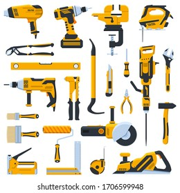 Building construction tools. Construction home repair hand tools, drill, saw and screwdriver. Renovation kit vector illustration icons set. Tools jackhammer and vise, jigsaw and level