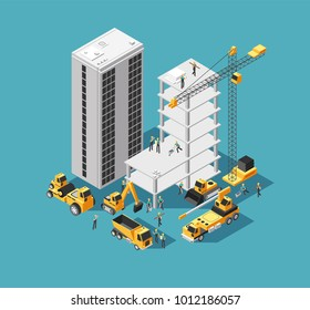 Building construction vector 3d isometric concept with builders and heavy equipment. House construction site background. Isometric construction site with crane and machine illustration