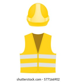 Building, construction worker safety equipment yellow color, place your logo