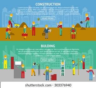 Building and construction with workers and text flat color horizontal banner set isolated vector illustration