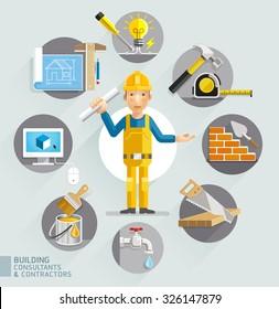 Building consultants & contractors. Vector illustrations.