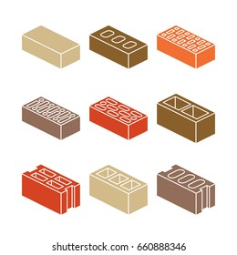 Building and contruction materials icons - colorful bricks on white background. Material for constrution work, vector illustration