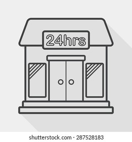 Building convenient store flat icon with long shadow, line icon