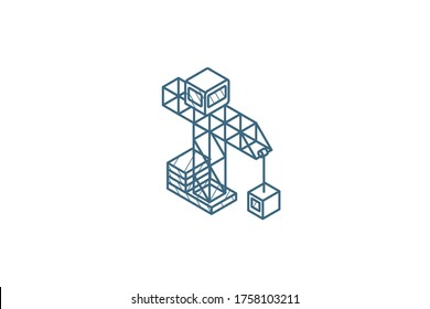 building crane isometric icon. 3d vector illustration. Isolated line art technical drawing. Editable stroke