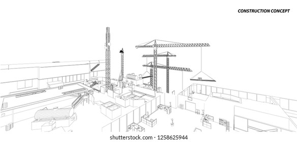 Building crane on the Architecture background. Perspective 3d vector.