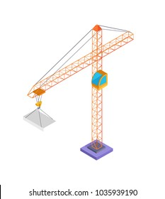 Building crane and slab, poster with metal construction and panel made of concrete, crane with panel, vector illustration isolated on white background