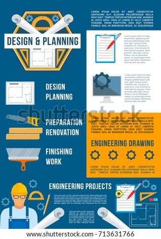 Building Design Construction Industry Poster Template Stock Vector