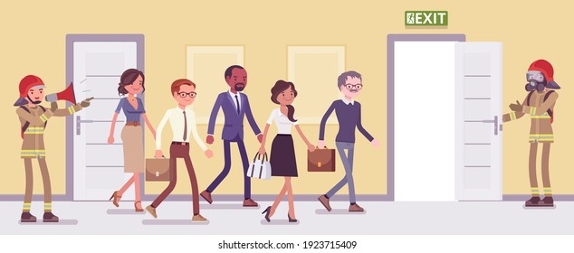 Building evacuation procedure, workplace emergency escape training. Drill for employees on leaving office in life-threatening situation under firemen control. Vector flat style cartoon illustration