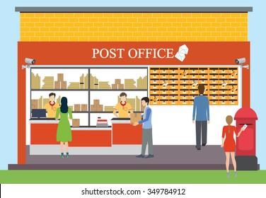 Post Office Cartoon Stok Illüstrasyonlar Görseller Ve Vektörler