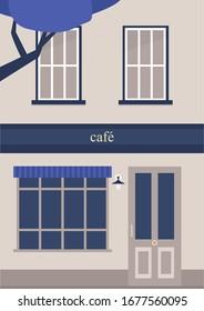 Building facade, cafe and apartments, piano nobile, no people