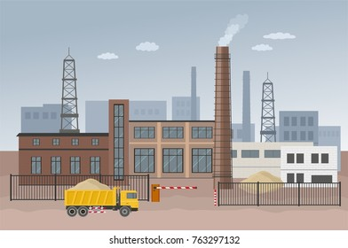 Building factory industry zone. Construction specialized transport and lorry. Flat and Colorfull illustration. Vector graphic