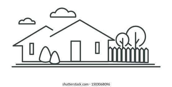 Building with fence and trees, suburban cottage or town house isolated linear icon vector. Exterior or front view, family home, neighborhood. Real estate business, rural architecture with backyard