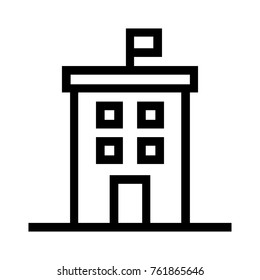 Building with flag flat line icon. Government real estate property linear vector illustration. Isolated on white background.