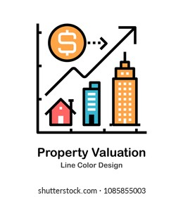 Building and growing graph line color icon