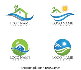 Building home nature logo design template