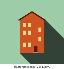 Building house icon with long shadow, Flat design, vector illustration EPS10