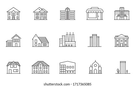 Building and house line icon set. City of town outline elements. Vector illustration.