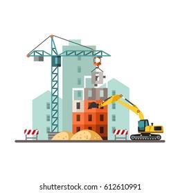 Building a house. Vector Illustration.