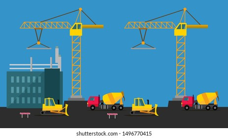 Building a house. Vector Illustration. Building and construction industry cartoon background. House Building Process Flat. Apartment Under Construction Site. Building Business,  Industry.