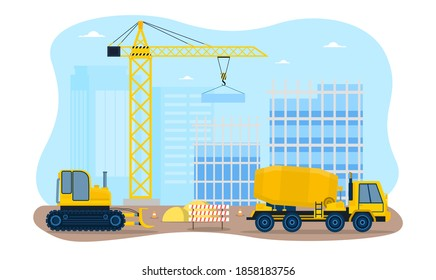Building a houses premises process. Workers constructing with the help of special equipment and transport a crane and a concrete mixer. Flat cartoon vector illustration