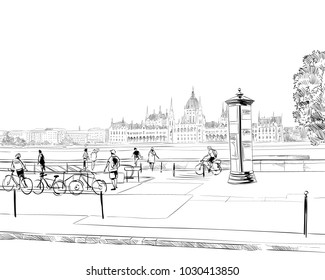 Building of the Hungarian Parliament. Budapest. Hungary. Europe. Hand drawn vector illustration.