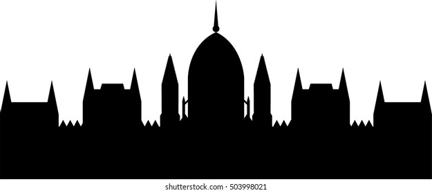 Building of Hungarian parliament in Budapest, Hungary. Black vector illustration